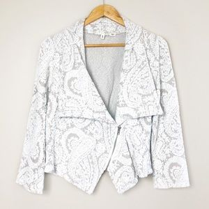 Moth Anthropologie Asymmetrical Paisley Zip Jacket